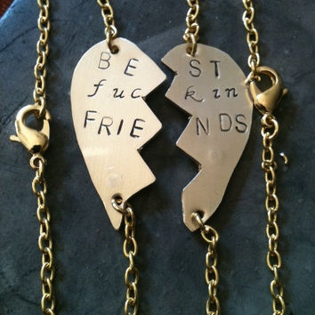 Mature content ...BFF Best  friends forever sterling silver Copper brass hand stamped Bracelet custom personalized