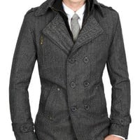 Doublju Mens Casual Wool PEA Herringbone Coat BLACK Asian M(920)