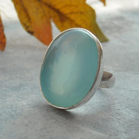 Aqua Blue Bold Chalcedony sterling silver Gemstone by Studio1980