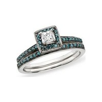 1/2 Carat Blue  White Diamond 14K White Gold Engagement Ring