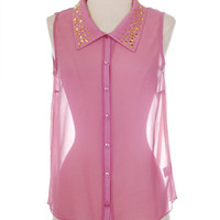 Studded Chiffon Top