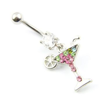 316L Surgical Steel 14G 7/16 Inch Cup of Cocktail Dangle Girl's Navel Belly Bar Ring Barbell Body Jewelry
