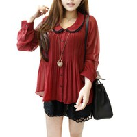 Allegra K Woman Peter Pan Collar Sheerness Long Sleeve Pleats Shirt Burgundy S