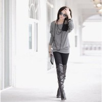New Arrival Aautumn&amp;Winter Style  Batwing Sleeves High Elastic Loose Slim T-Shirt China Wholesale - Sammydress.com