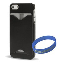 Worldshopping Black ID/ Credit Card Holder Hard Case Back Cover for Apple iphone 5 5G + Free Access