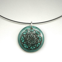 Dark Green Mint Necklace Hand Painted Wood Jewelry  - Original Choker Necklace - Mandala