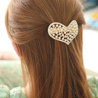Luxurious Rhinestone Pearl Heart Hair Barrette wholesale