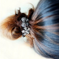 Wholesale Sweet Black Rhinestone Bow Elastic Hair Band
