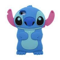 Blue Disney 3d Stitch Movable Ear Silicone Soft Case Cover for Apple Iphone 4/4s