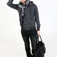 Side Zipper Leisure Hooded Grey Coat : Wholesaleclothing4u.com