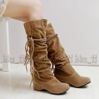 Womens Ladies Fashion Faux Suede Slouchy Boho Fringe Mid Calf Boots Shoes