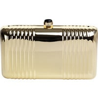 REISS Womens Mabel Gold Hard Case Clutch Bag