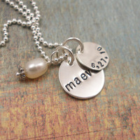 Personalized Hand Stamped Necklace  Sterling by tinytokensdesigns
