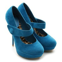 Ollio Women's Faux Suede Platforms Classic High Heels Turquoise Shoes