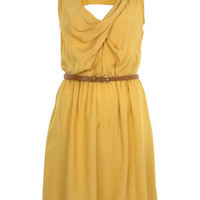 Ochre Cowl Pintuck Dress - View All - Dress Shop - Miss Selfridge