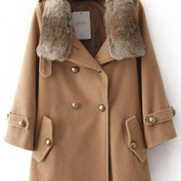 Fur Collars Double Breasted Wool Coat KhakiS007295