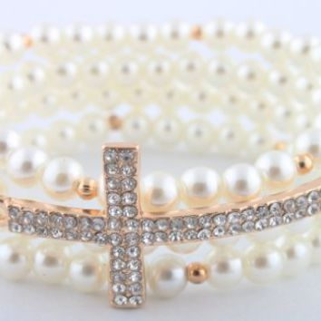 Ladies White Pearl with Gold Iced Out Sideways Cross Style Beaded Stretch Bundle Bracelet