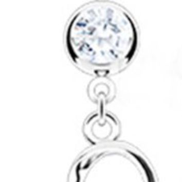 Dangling Loop Heart Sexy Belly Button Navel Ring Dangle Body Jewelry Piercing with Clear Gems and S