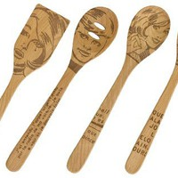Talisman Designs 12-Inch Solid Beechwood Mixing, Slotted & Corner Spoon Plus Spatula Turner with Po
