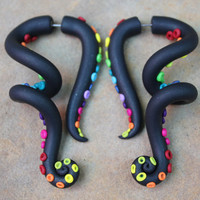 Rainbow Tentacles Gauge or Fake Gauge by SwirlyGirlyGoddess