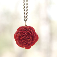 RedCrimson Peony Flower Cabochon Necklace Vintage by peachtreelane