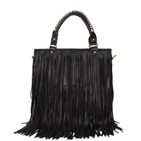 Black Leather Punk Tassel Fringe Handbag Shoulder Handle Bag Satchel Purse Hobo Tote High Quality W