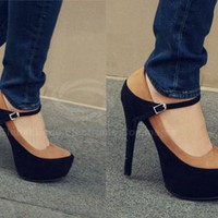 Two-tone Suede Pumps