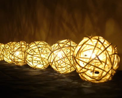 Monkey Party String Lights : White Rattan Ball Patio Party String from Amazon