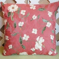 Spring Floral Pillow Cover in Rose Peach Green and White