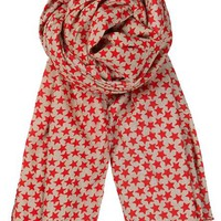 Poppy Red Winter Stars Scarf | The Hambledon
