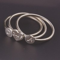 Three Stacking Family Initial Sterling Silver by InitialRings