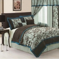 7pc Faux Silk Bamboo Nod Aqua Blue Teal Brown Flocking Printing Patch Work Comforter Set Bedding-in