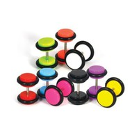 Lot of 8 Pieces Multi-Color Acrylic Fake Plugs Gauges with O Rings - 16G (1.2mm) - 0G (8mm) Gauges