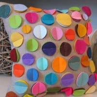As SEEN in DIY Magazine Rainbow Disc Pillow on by dedeetsyshop