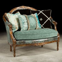 Baby blue gator settee, how crazy do you want to get?  Luxury fine home furnishings and high quality furniture for any home decor.