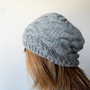 Hand Knitted Grey Hat Gray Silver Taupe Ribbed by SmilingKnitting