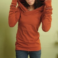 extra long sleeved hooded top Rust Orange