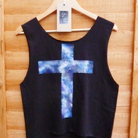 Galaxy Cross, Dipped Hem Vest Ladies Summer Crop Top Vest Oversize