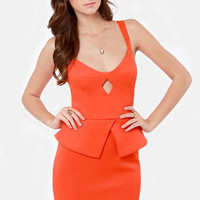 Romance in Rio Orange Peplum Dress