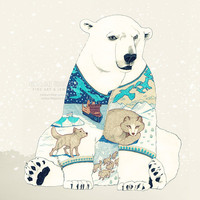 Polar Bear fine art print surreal illustration by YuliyaArt