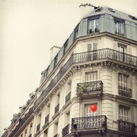 Paris Photo - The Red Balloon - Paris Apartment, Whimsical Travel Photography, White, Neutral Colors, Home Decor, Beige, Cream