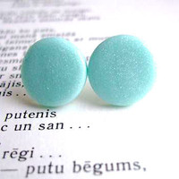 Light blue stud earrings with glitter polymer by bloomyjewelry