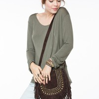Brown Studded Fringe Bag