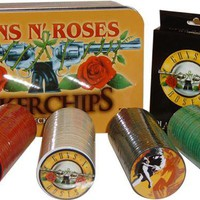 Guns N Roses, Poker Set, Cards, Chips & Tin