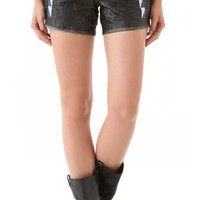 April, May Vic Leather Shorts with Embroidery | SHOPBOP