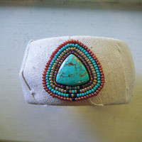 Fabric Wrapped Cuff Bracelet with Turquoise Stone