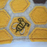 Honeycomb Felt HandEmbroidered Coffee Cozy by EvelynAndAnna