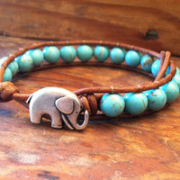 Elephant Leather Wrap Bracelet, Blu.. on Luulla