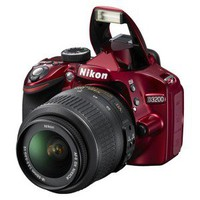 Nikon D3200 24.2MP Digital SLR Camera with 18-55mm VR Lens  Red (25496)