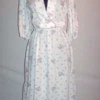 Vintage 1970s White Floral Dress Purple Floral Design